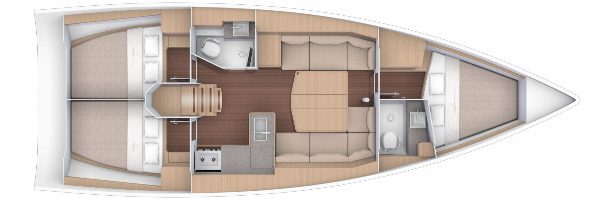 Dufour 390 cabins